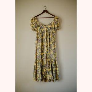 Zara Yellow Paisley Prairie Dress